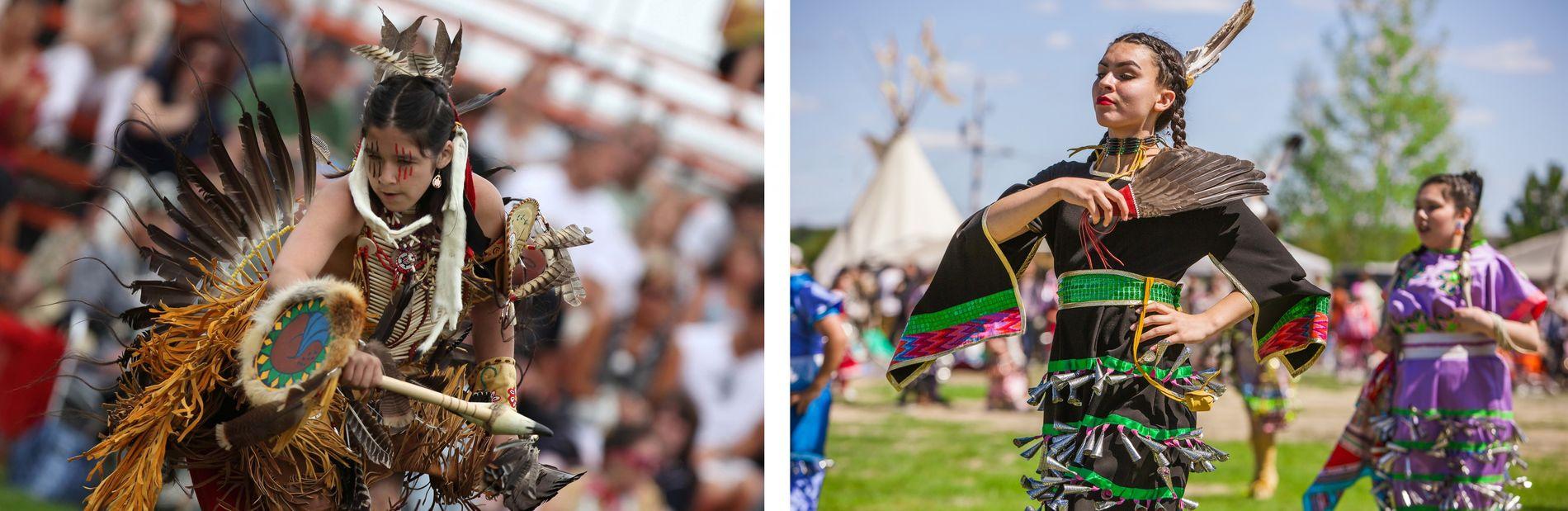 LINKS: Pow-Wows wie dieser in Wendake, Québec, finden im Sommer statt und feiern mit Tanz, Musik ...