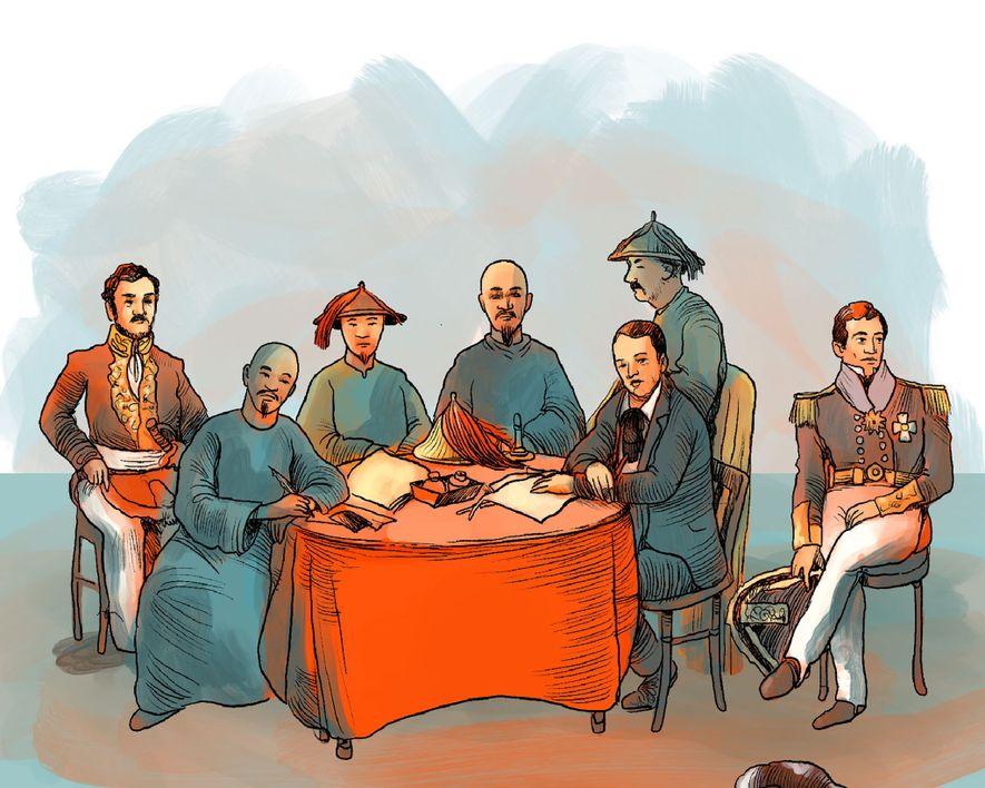 1. JANUAR 1842: Der Vertrag von Nanjing wird von China und der britischen Krone unterzeichnet: Hongkong ...