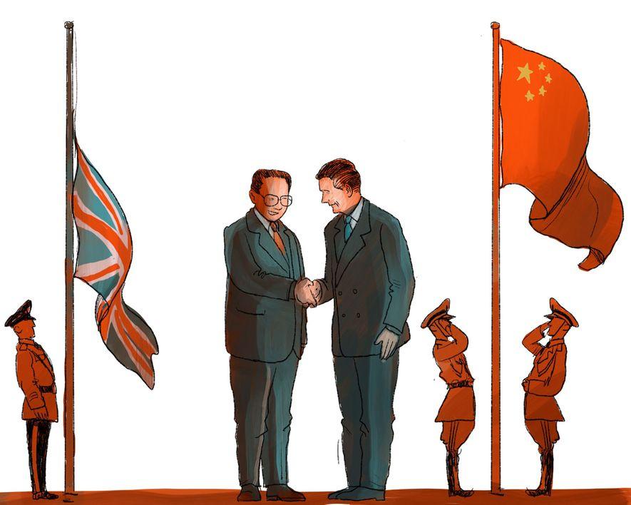 1. JULI 1997: Hongkong fällt zum ersten Mal seit 150 Jahren wieder offiziell unter chinesische Herrschaft. ...
