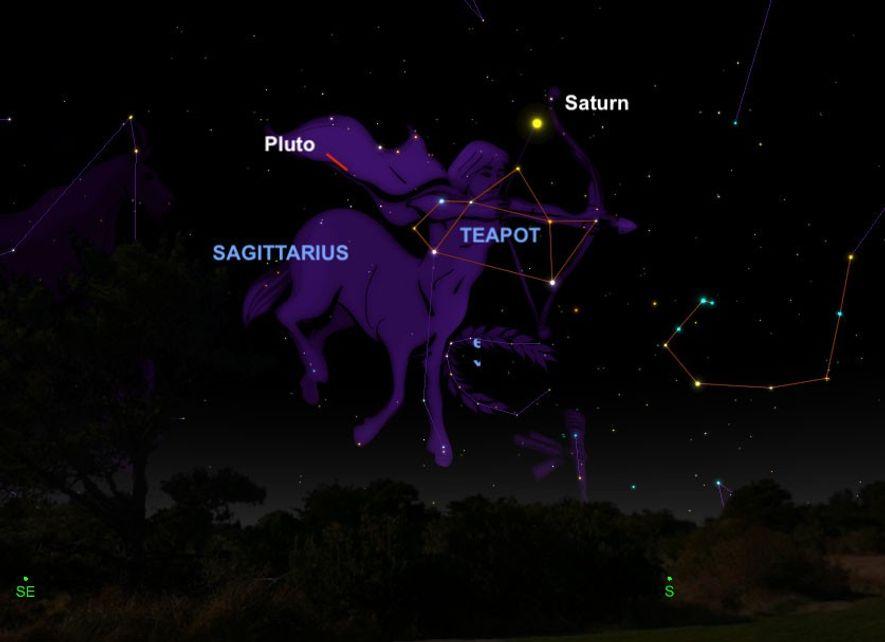 Pluto zeigt sich am 12. Juli von seiner schönsten Seite und wird mit Teleskopen im Sternbild ...