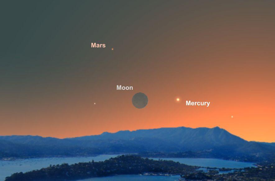 Am 4. Juni wird die dünne Mondsichel ein guter Anhaltspunkt sein, um den kleinen Merkur zu ...