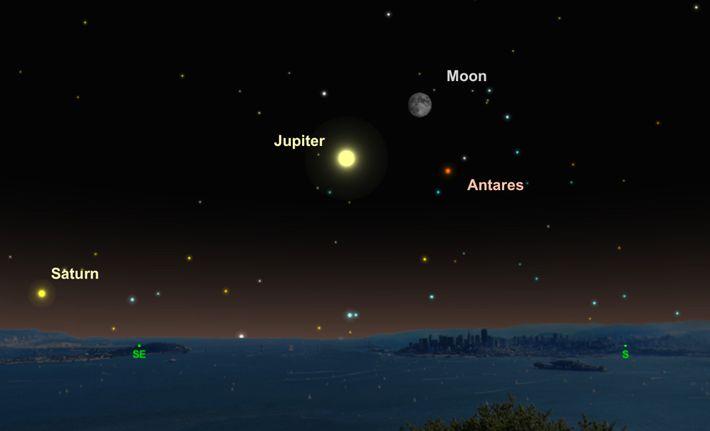 Jupiter, der Mond und der rote Stern Antares werden am 15. Juni ein himmlisches Dreieck bilden.