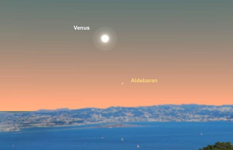 Die Venus zieht am Stern Aldebaran vorbei.