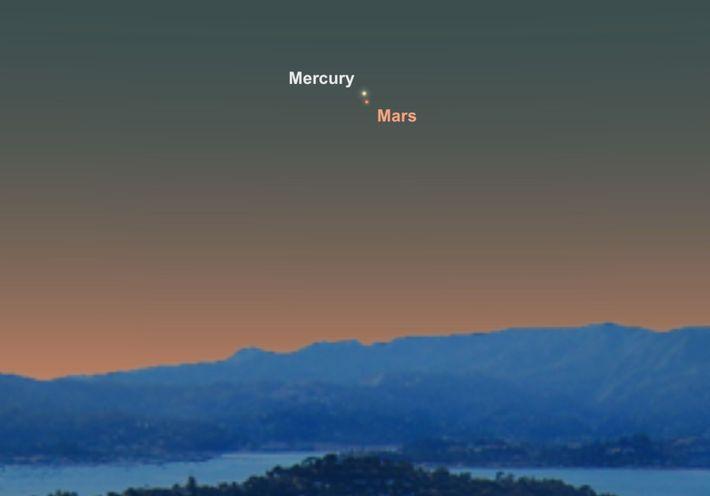 Die beiden Planeten Mars und Merkur stehen am 18. Juni besonders dicht beieinander am Nachthimmel.