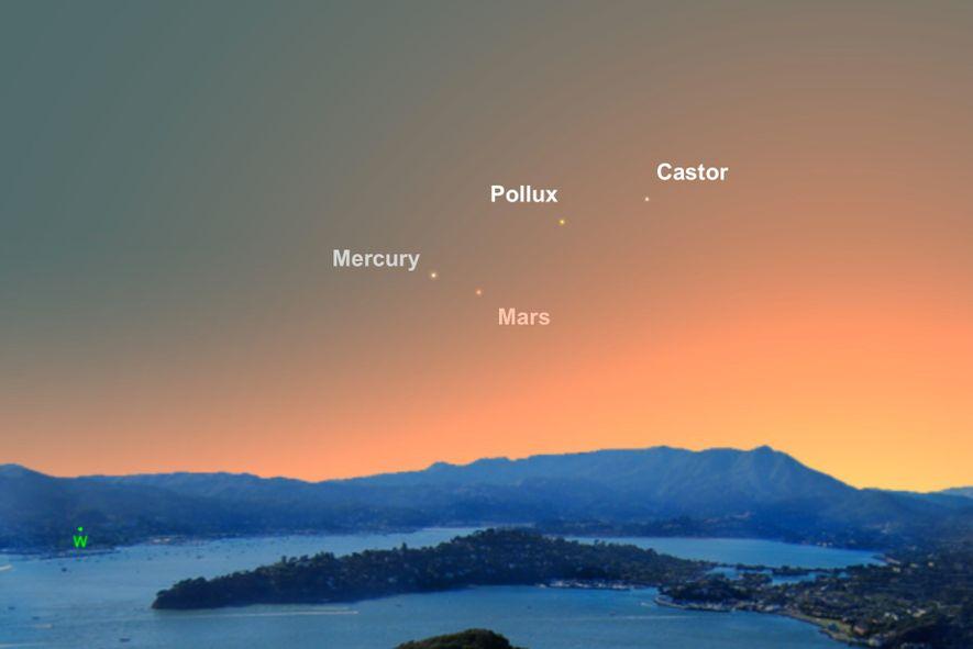 Am Abend des 23. Juni wird der Merkur, der sonst eher schwer zu sehen ist, selbst ...
