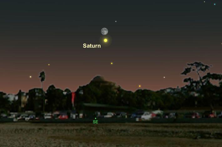 Am 27. Juni geben sich der Mond und der Saturn ein Stelldichein.