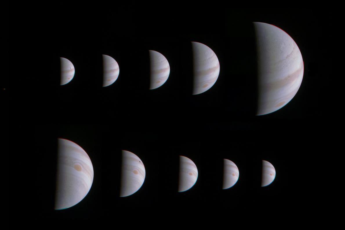 Montage aus zehn Bildern vom Jupiter