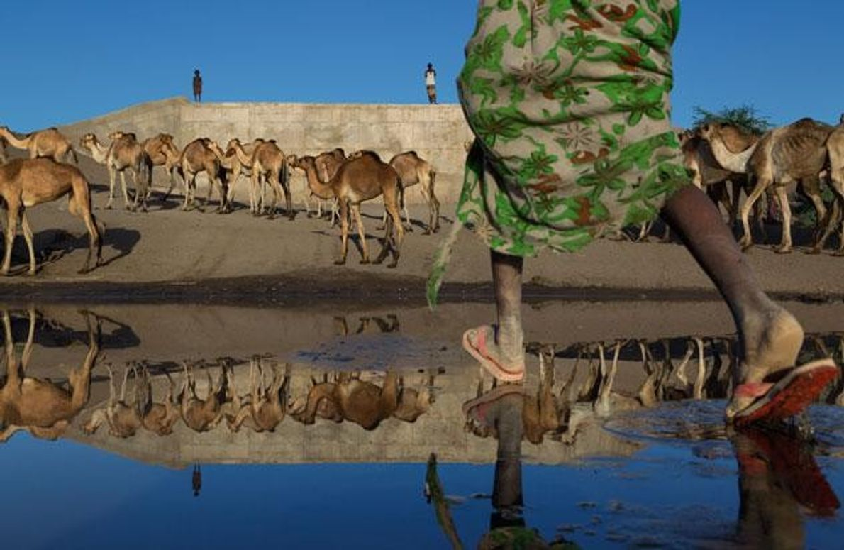 Eine Mauer lenkt den Fluss Awash in Äthiopien um – sie ist Teil eines Projekts, mit …