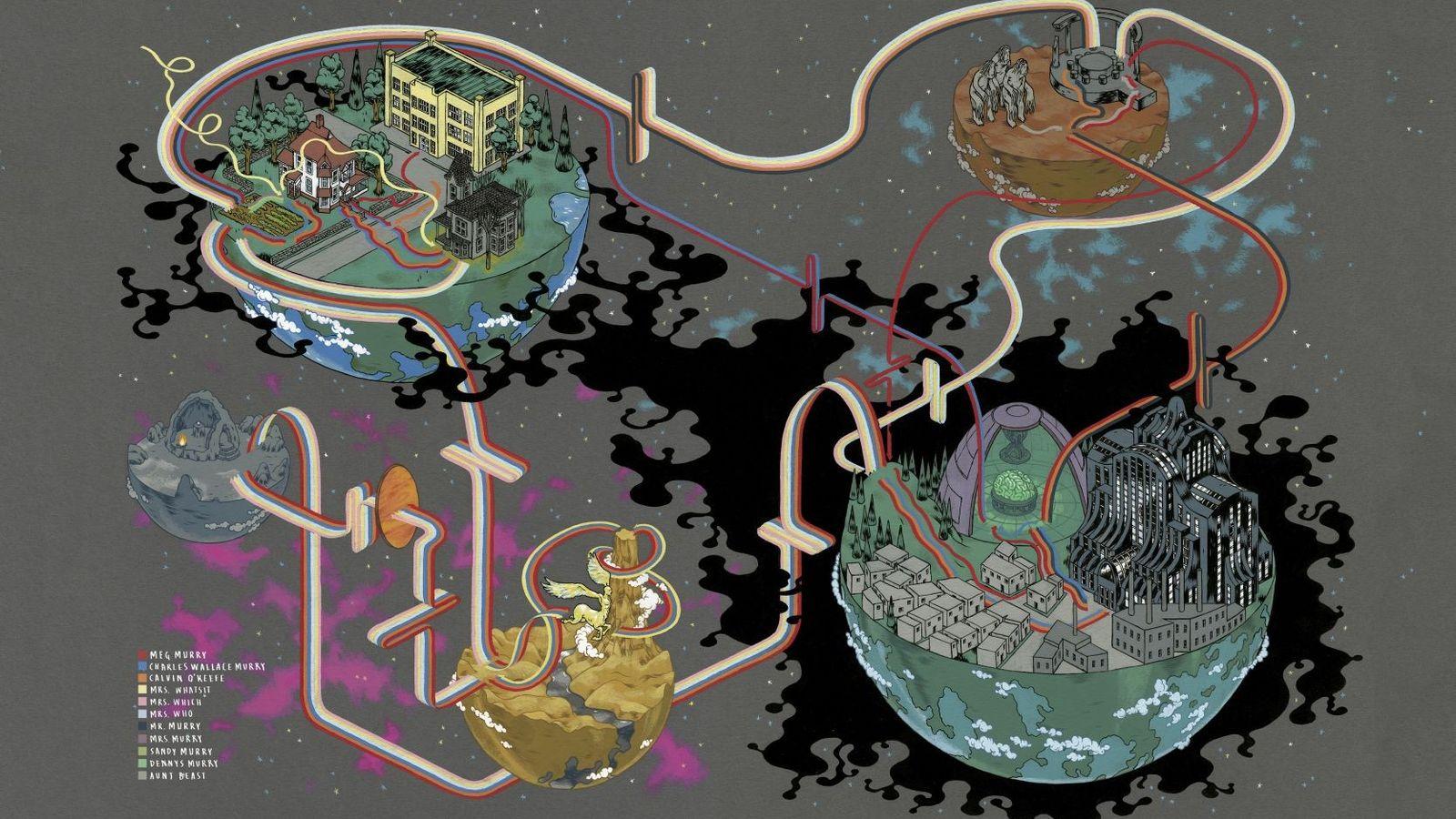 Der Grafiker Andrew DeGraff kartiert die Wege von Charakteren aus Büchern und Filmen, die sie in ...
