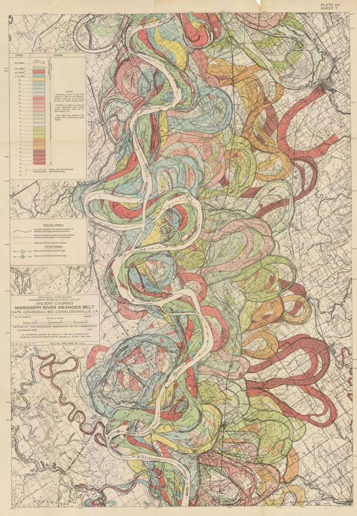 Diese Karte der alten Flussbetten des Mississippi ist eine von 15 in Fisks Bericht von 1944, ...