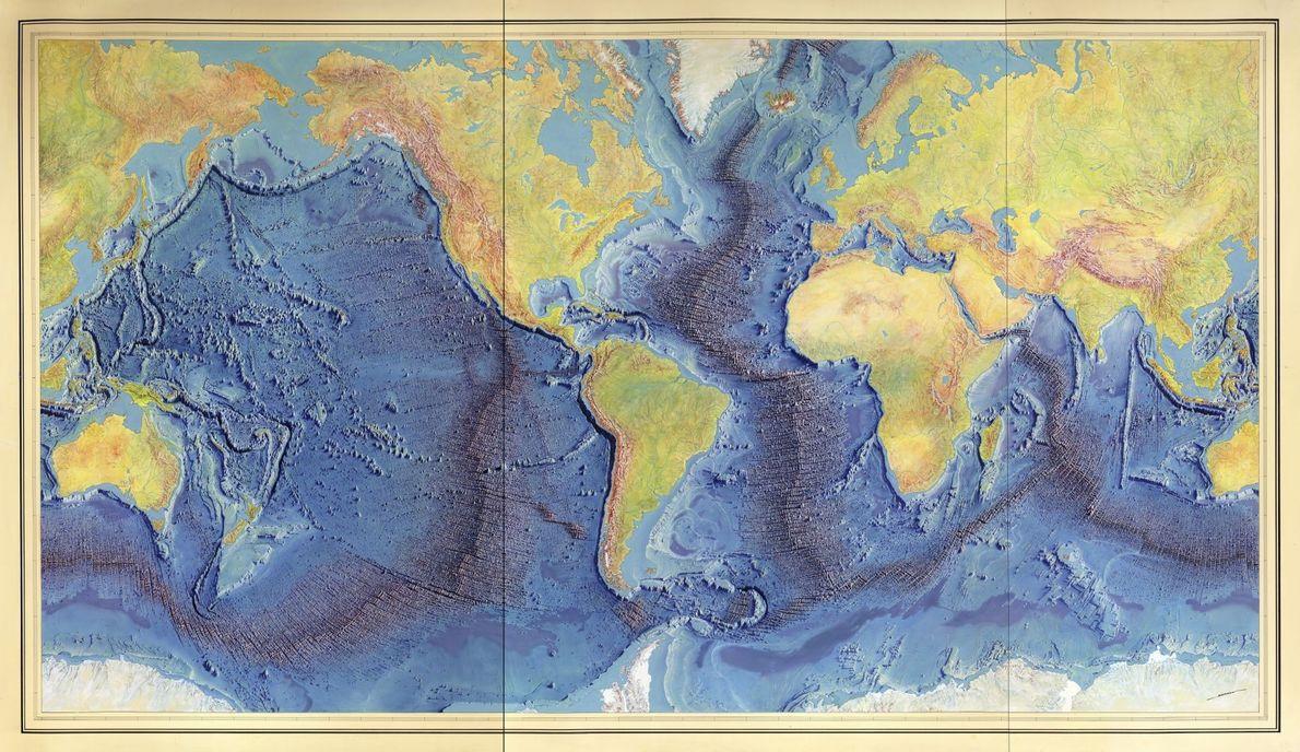 Die letzte Karte, die Tharp und Heezen erstellten, war eine einzigartige Bodenkarte der Weltmeere. Heinrich Berann ...