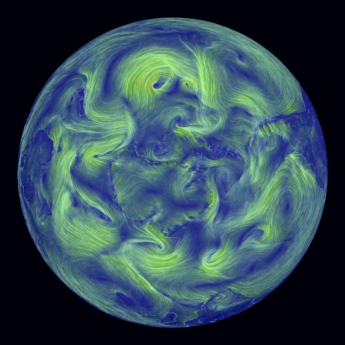 Diese Ansicht der westlichen Hemisphäre zeigt die Winde vom 18. September 2017. Die Helligkeit und Farbe ...