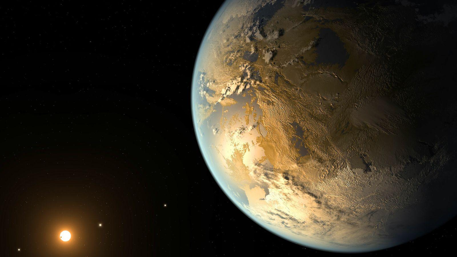 Diese künstlerische Darstellung zeigt Kepler-186f, den ersten bestätigten Planeten in Erdgröße, der einen entfernten Stern in ...