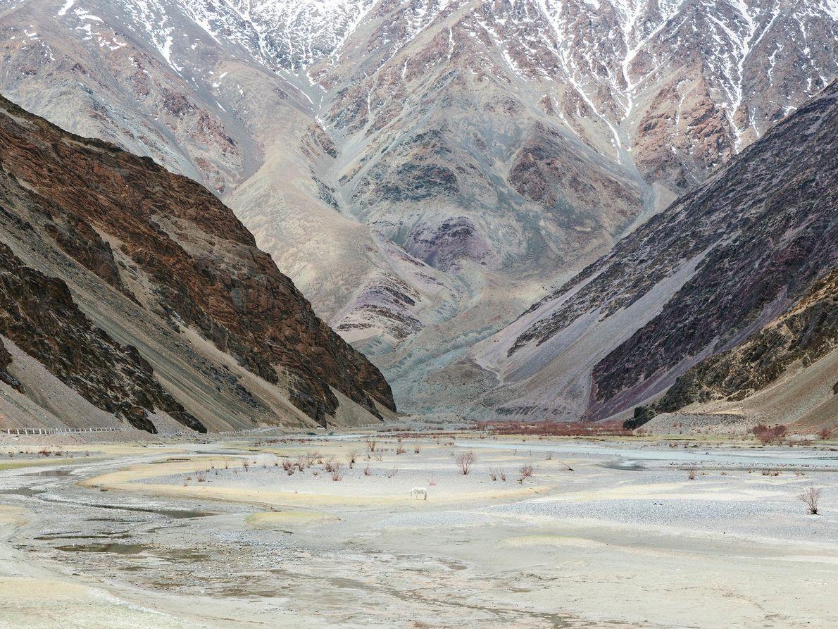 Das abgelegene Gebiet in der Nähe des Dorfes Chumathang in Ladakh ist für seine heißen Quellen ...
