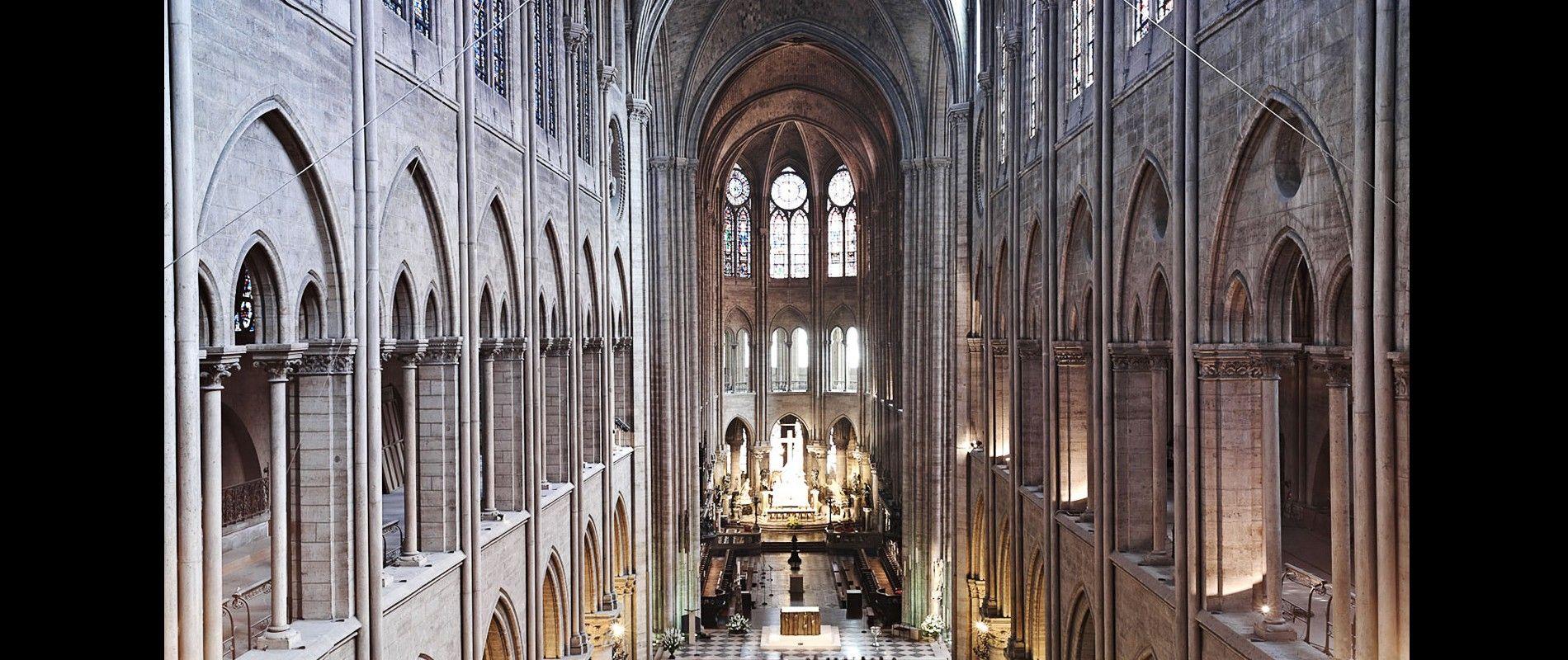 Tallons Laserscans offenbarten, dass einige der Säulen im Kirchenschiff der Pariser Kathedrale Notre-Dame nicht genau parallel ...