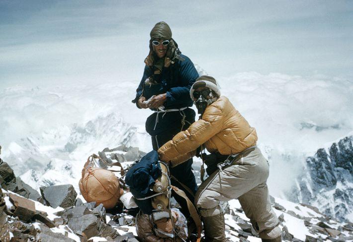 Hillary und Norgay auf dem Südostgrat des Mount Everest