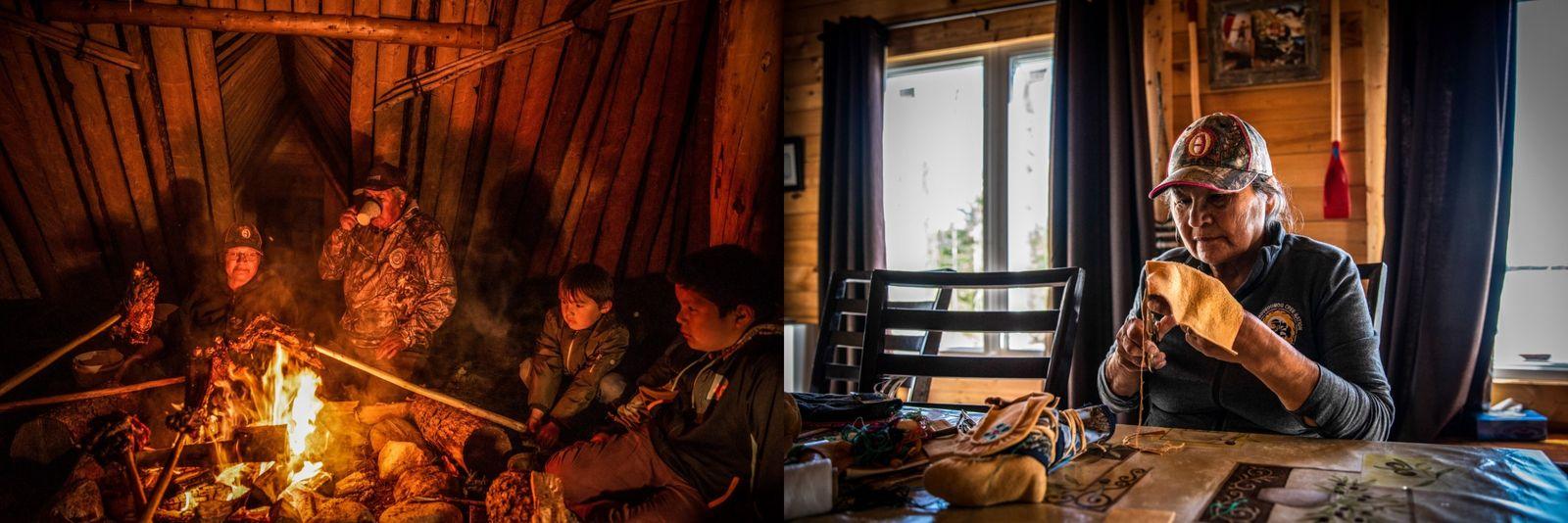 Links: Die Bosum-Familie brät Elchfleisch über einem Feuer in einem traditionellen Cree-Gebäude in Nuuhchimi Wiinuu, Oujé-Bougoumou, ...
