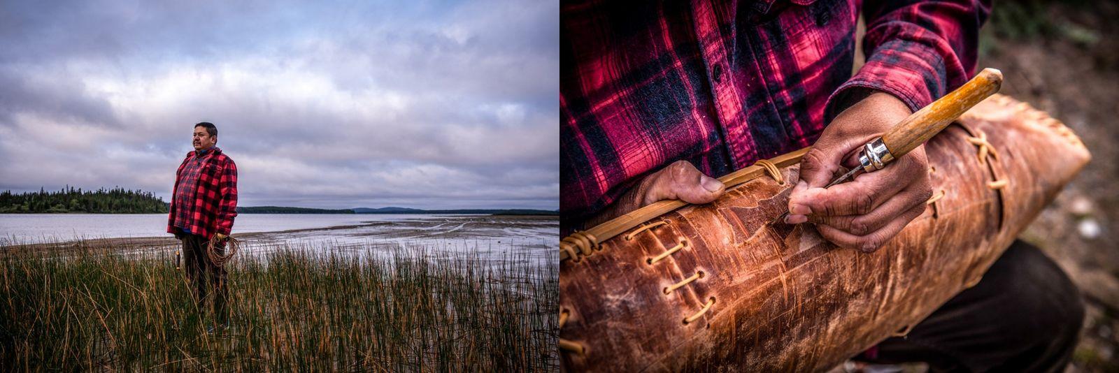 Links: Harold Bosum steht am See in Oujé-Bougoumou, Québec. Rechts: Künstler Harold Bosum zeigt seine unglaubliche Kunstfertigkeit ...