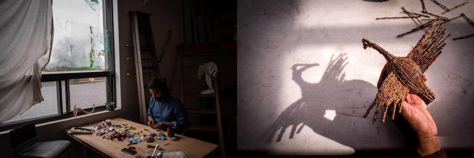Links: Nico Williams, ein indigener kanadischer Künstler arbeitet in seinem Studio in Montréal. Rechts: Harold Bosum, ein ...
