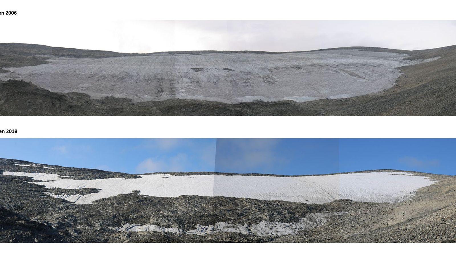 Das Lendbreen-Eisfeld schmilzt rapide ab, wie beim Vergleich dieser zwei Aufnahmen von 2006 (oben) und 2018 ...