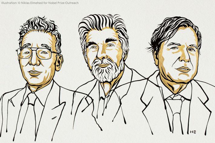 Die Nobelpreisträger Syukuro Manabe, Klaus Hasselmann und Giorgio Parisi (von links).