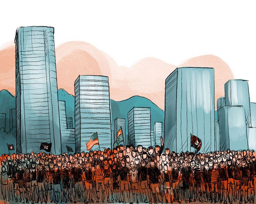 FEBRUAR - MÄRZ 2019: Hongkongs Regierung verkündet Pläne für ein neues Gesetz, das erstmals die Auslieferung ...