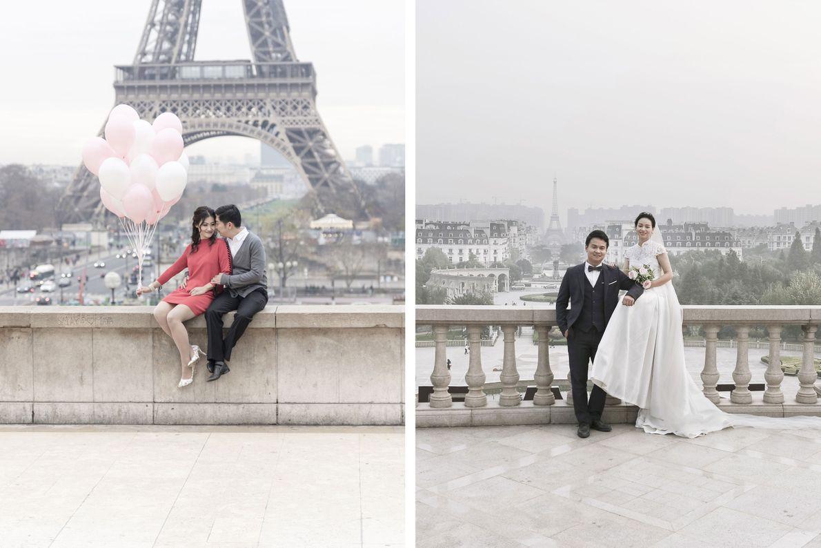 Sowohl in Frankreich (links) als auch in China (rechts) ist der Eiffelturm eine beliebte Kulisse für ...