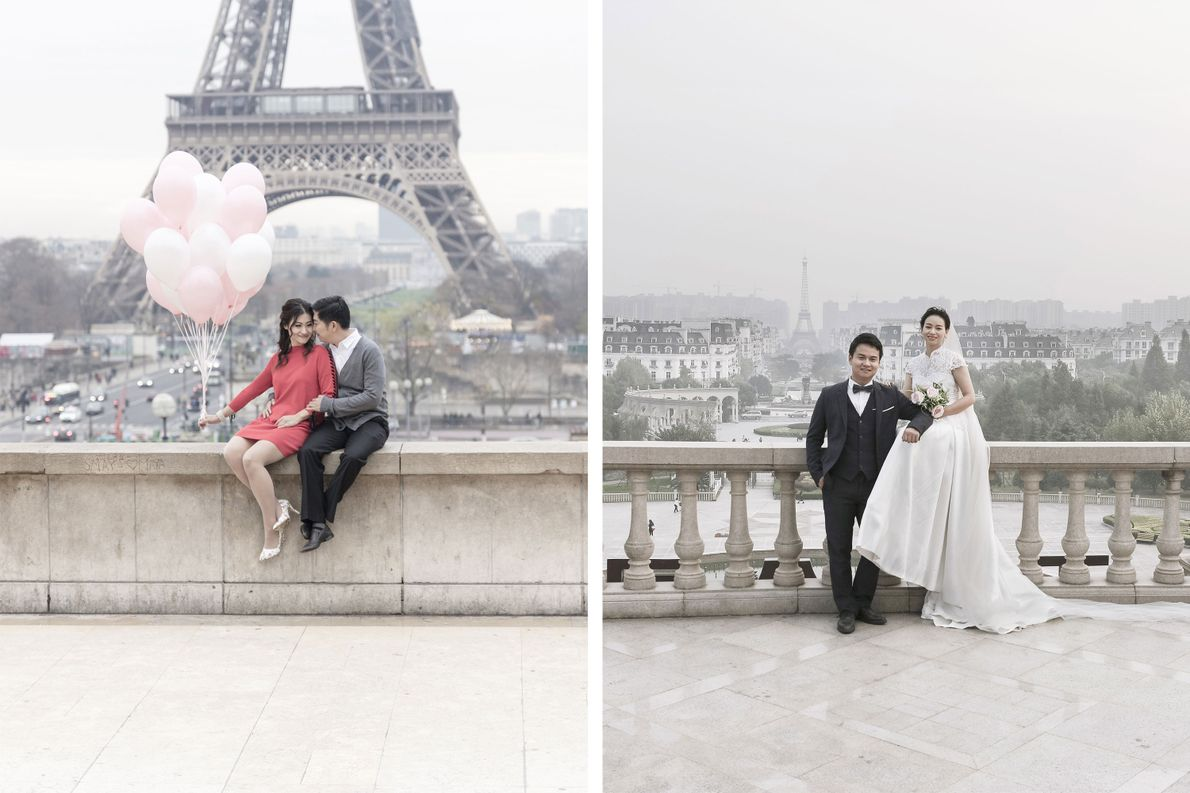 Sowohl in Frankreich (links) als auch in China (rechts) ist der Eiffelturm eine beliebte Kulisse für …