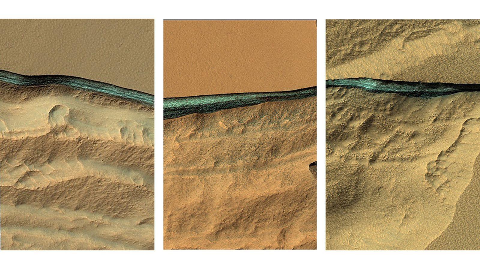 Erodierte Hänge in den mittleren Breitengraden des Mars offenbaren unterirdische Bänder eines bläulichen Materials. Spektralanalysen dieser ...