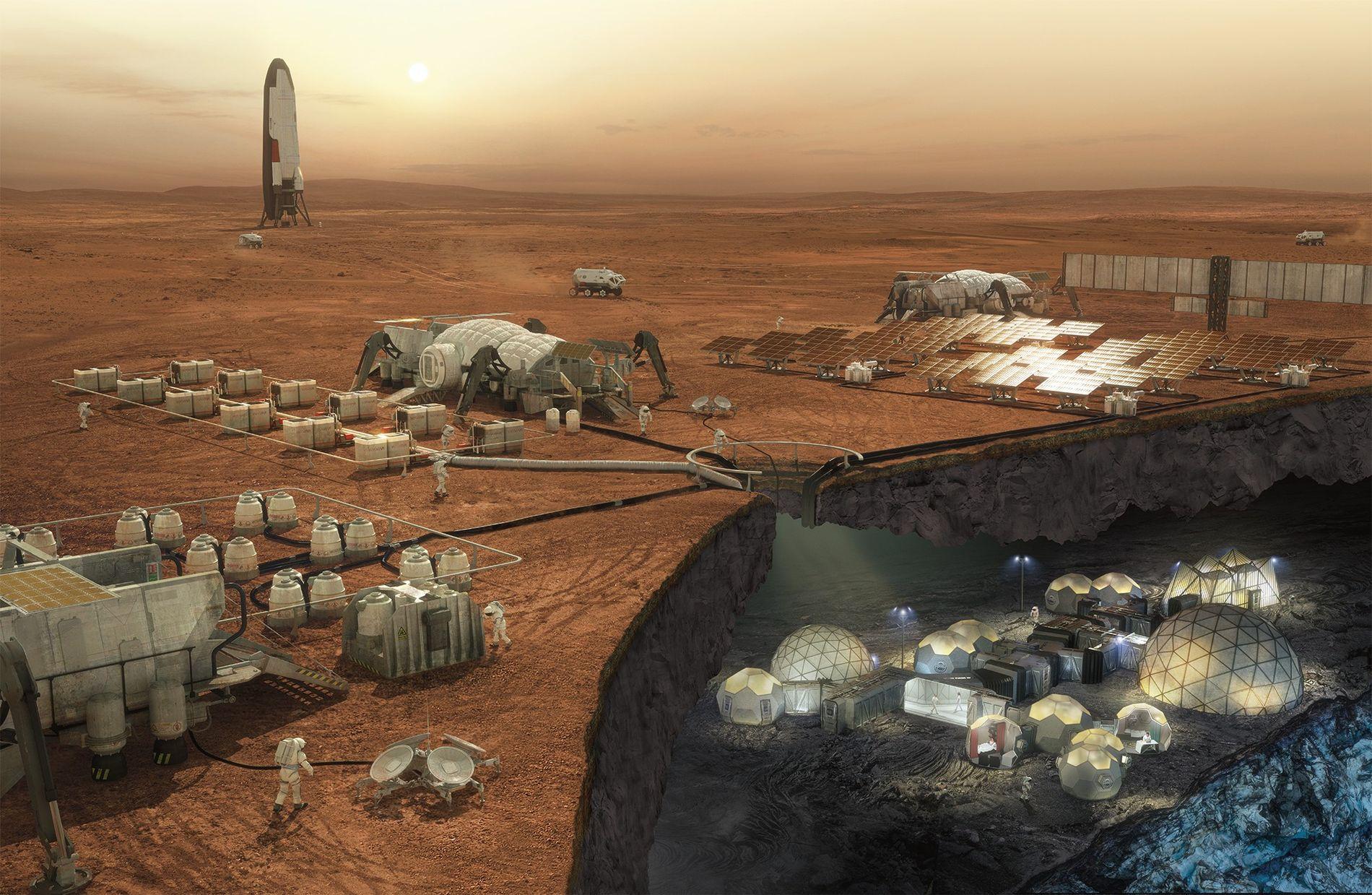 Eine Illustration zeigt, wie eine autarke menschliche Niederlassung auf dem Mars aussehen könnte.
