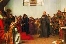 Martin Luther, der von Papst Leo X. als Ketzer verurteilt wurde, verteidigte seine Ansichten auf dem ...