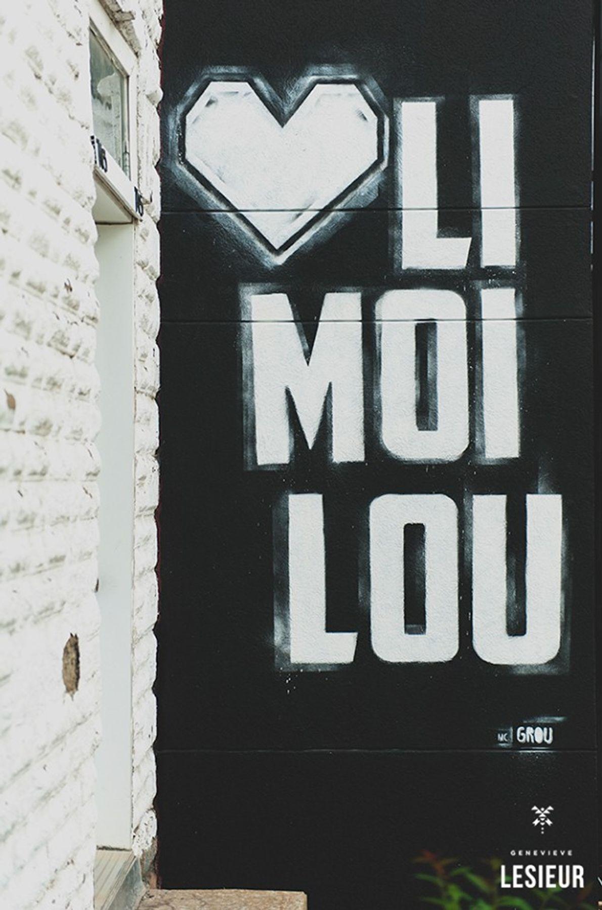 """Das erste Wandbild der Street-Art-Künstlerin MC Grou (""""Heart Limoilou"""")."""