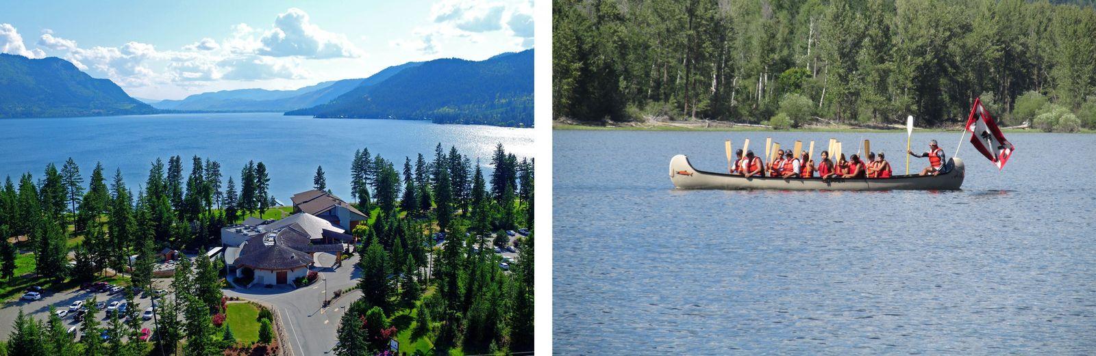 LINKS: Gäste können in der Quaaout Lodge and Spa am Shuswap Lake, British Columbia, authentische indigene ...
