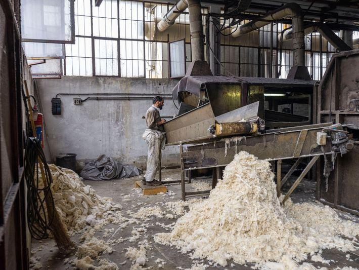 Wolle  wird in Italien recycelt