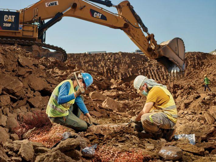 Zwei Paläontologen in der Mülldeponie von Can Mata