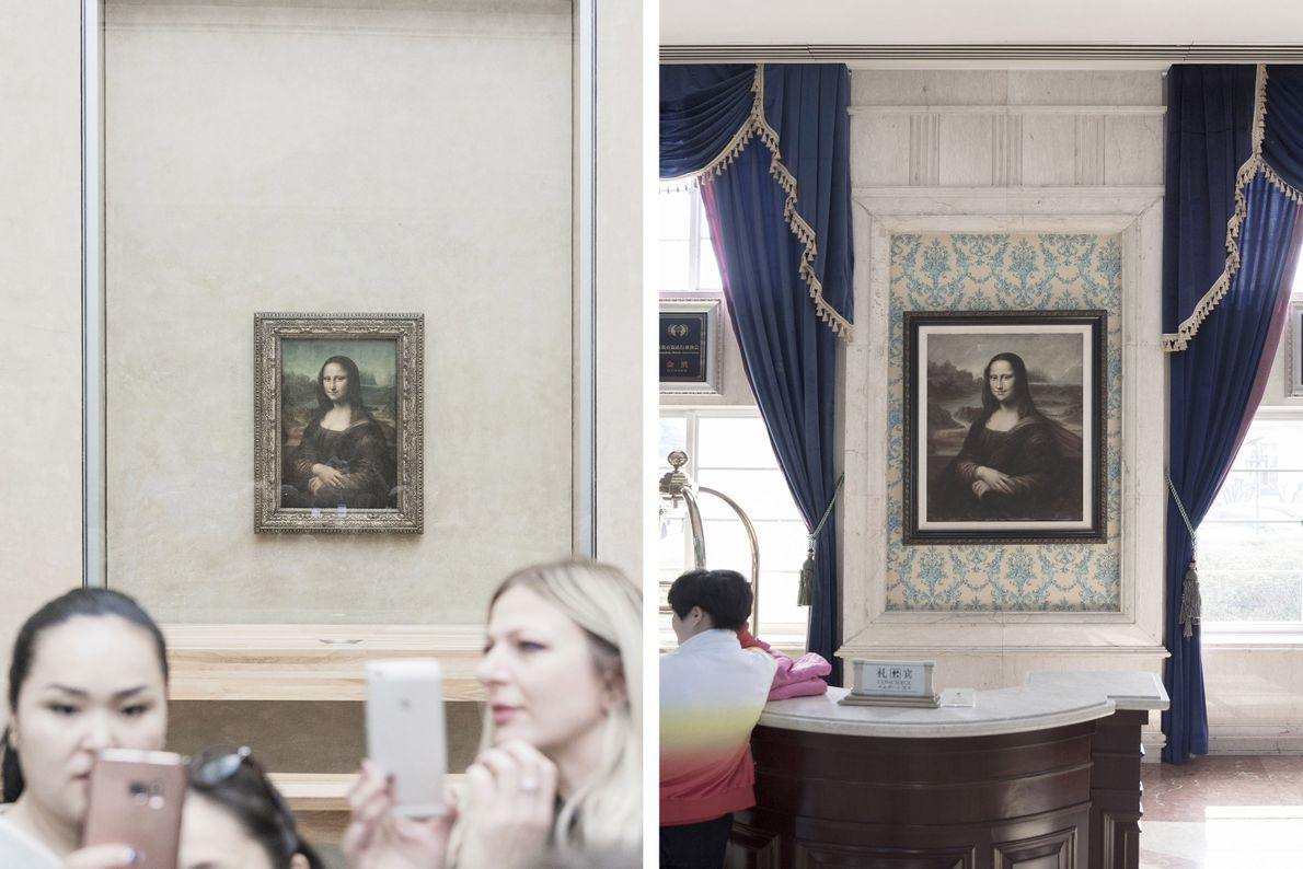 Das Original der Mona Lisa befindet sich im Pariser Louvre (links), aber auf der ganzen Welt ...