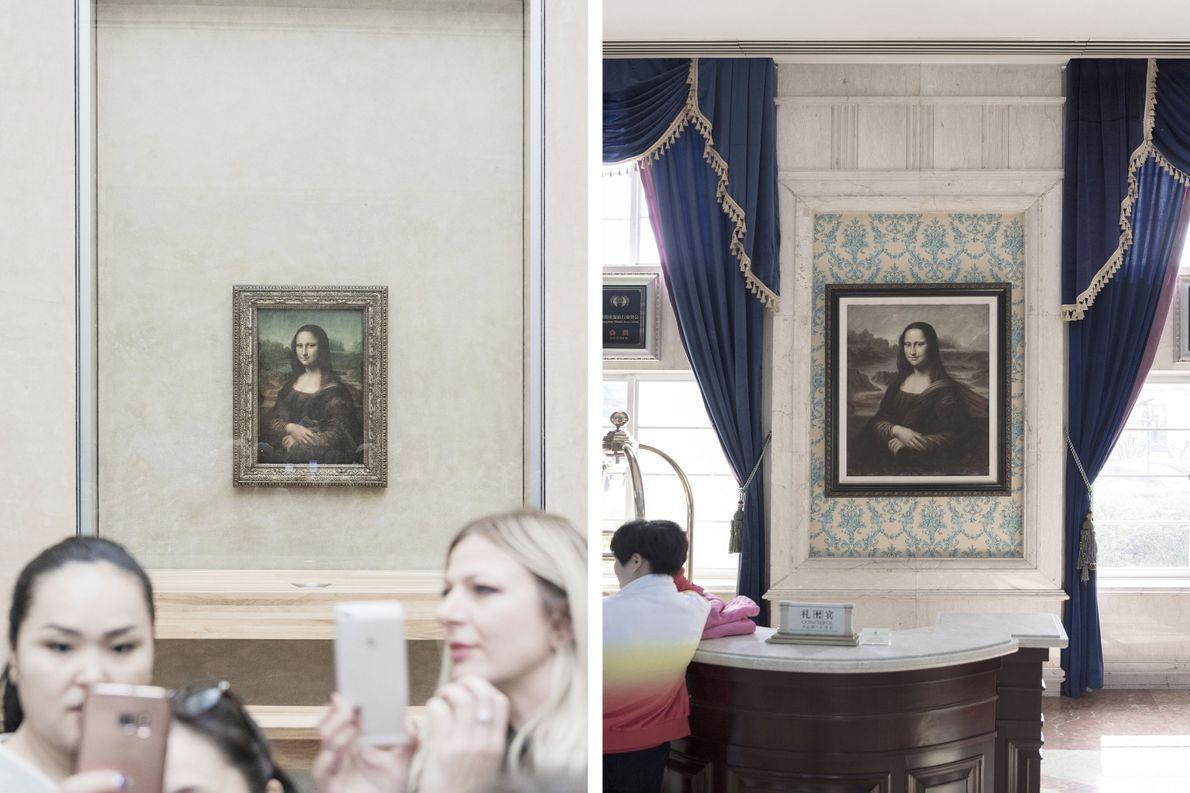 Das Original der Mona Lisa befindet sich im Pariser Louvre (links), aber auf der ganzen Welt …