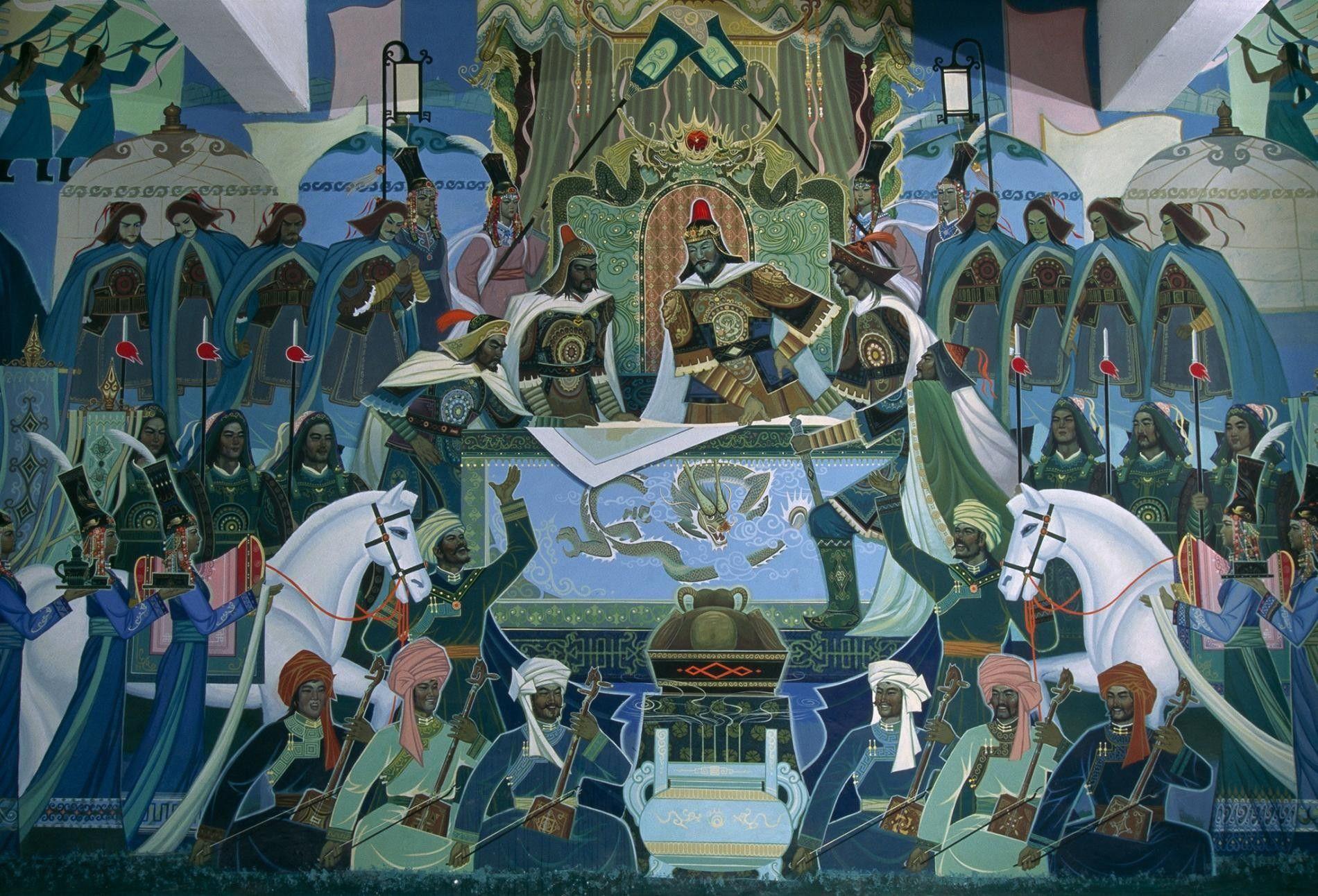 Wandbild: Krönung von Dschingis Khan