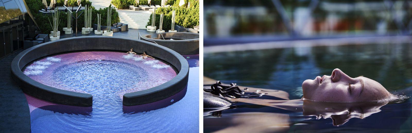 """Links: Die Terme Olimia lädt mir ihren modernen Thermalbadebecken zum Entspannen ein. Rechts: Das """"Schwarze Gold"""" ..."""