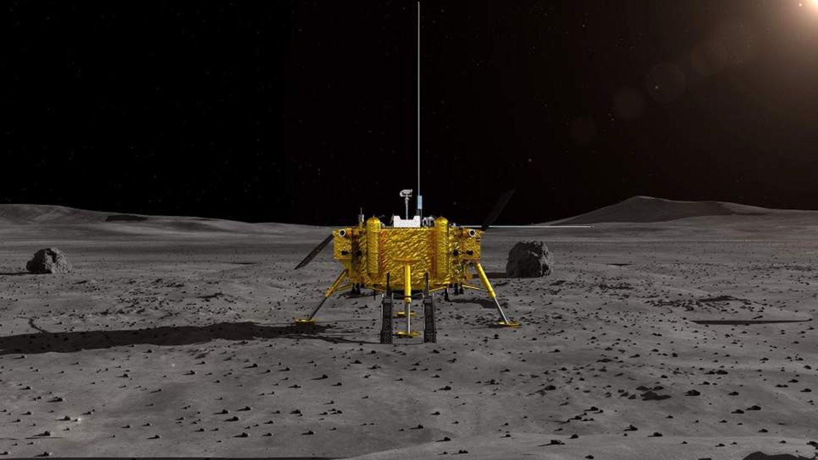 Diese Illustration der CSNA zeigt die chinesische Mondsonde Chang'e-4 – das erste Raumfahrzeug, das auf der ...