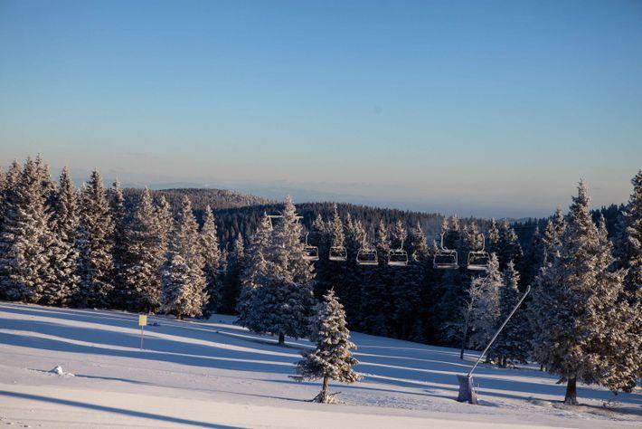 Im Skiort Rogla glitzert die Landschaft nach einer Schneenacht in der Morgensonne.