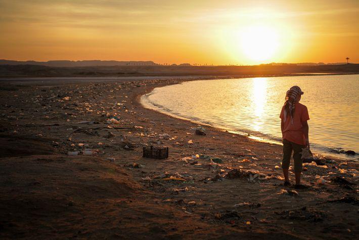Plastikmüll Nestle am Strand Ägypten