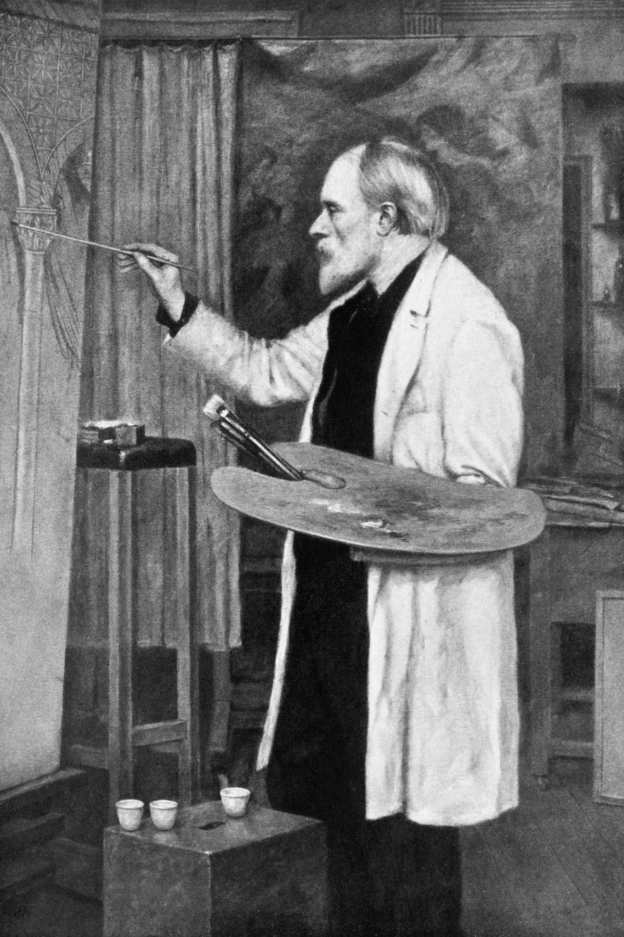 Diese Zeichnung zeigt Edward Burne Jones bei der Arbeit. Angeblich begrub der Künstler seine Tube mit ...
