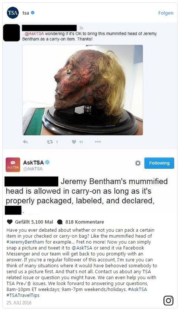 Mumifizierter Kopf von Jeremy Bentham