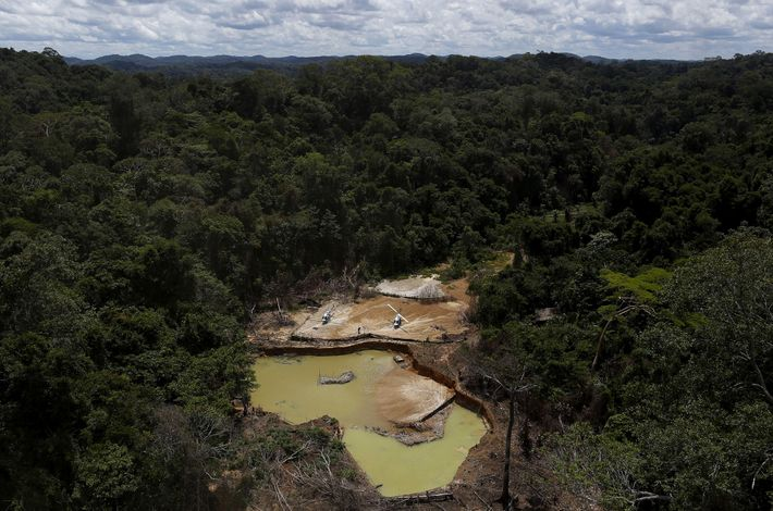 An illegal gold strike in 2016 scars Yanomami Indigenous Territory, in the northern Amazonian state of ...