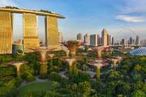Pflanzen klettern an den roten Rankgittern der Gardens by the Bay in Singapur empor.