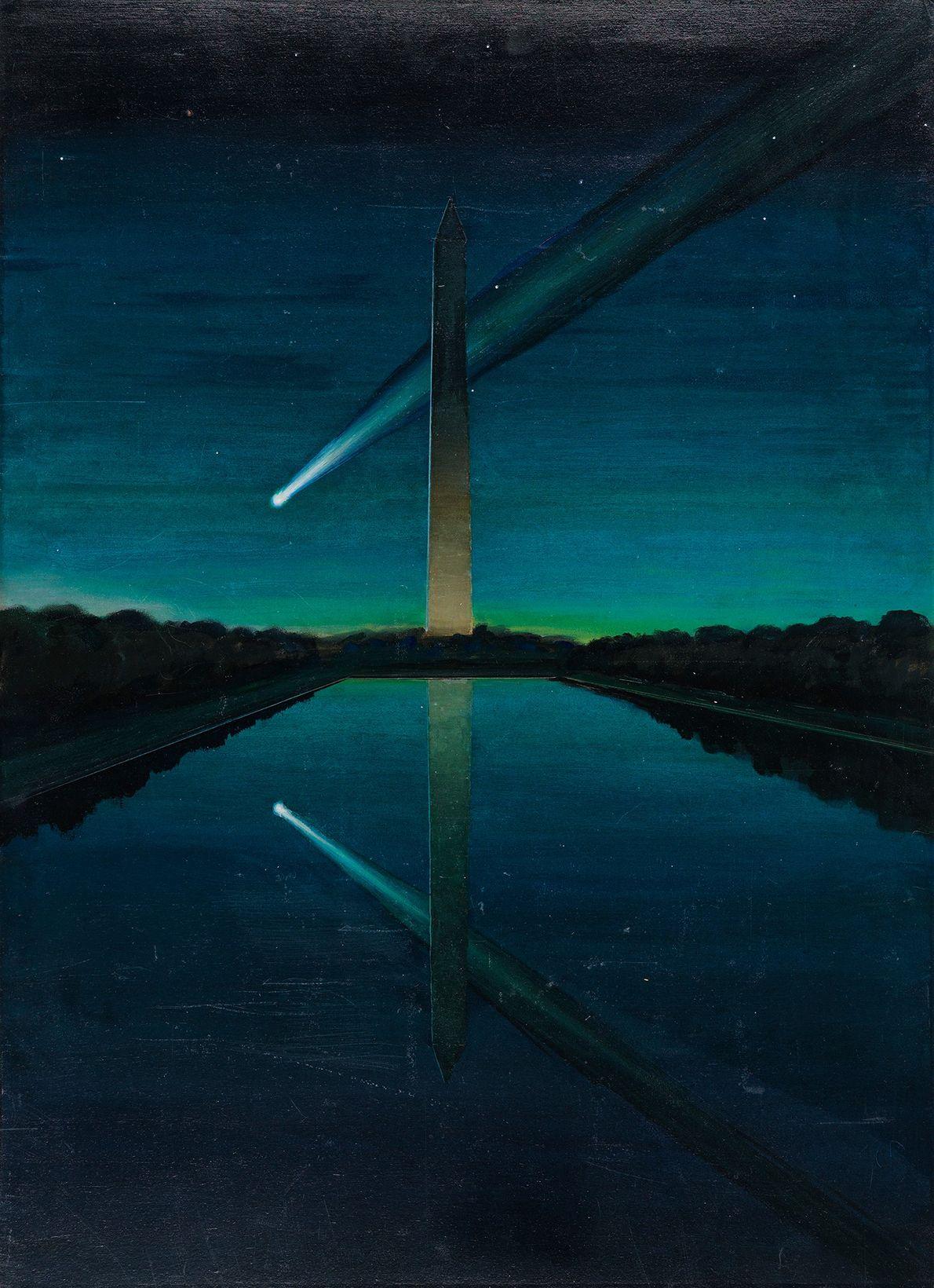 Ein Komet mit einem spektakulären Schweif scheint bei Sonnenaufgang hinter dem Washington Monument vorbeizuziehen.