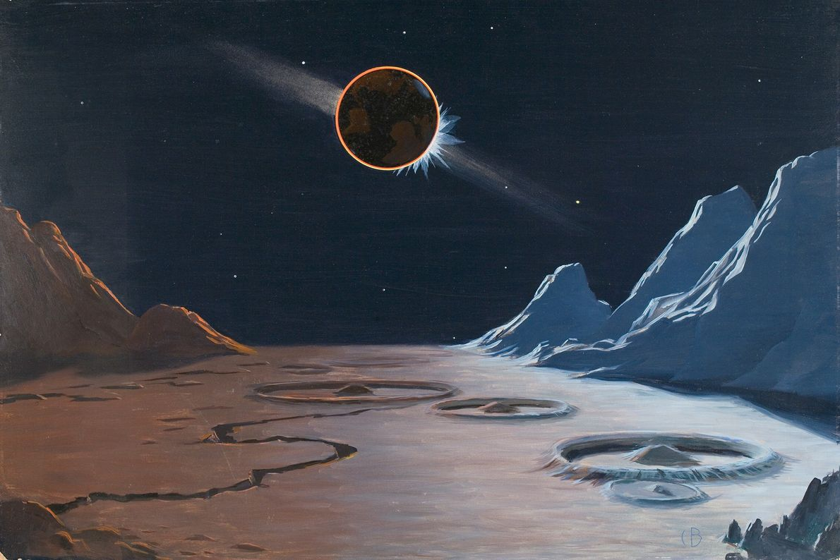 Hier zeigt Bittinger, wie vom Mond aus eine Sonnenfinsternis aussehen könnte, die von der Erde erzeugt ...