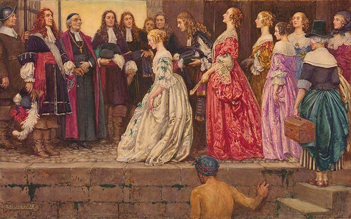 """Ludwig XIV. rekrutierte französische Frauen, so genannte filles du roi oder """"Töchter des Königs"""", die in ..."""