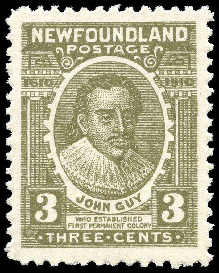 Briefmarke mit John Guy